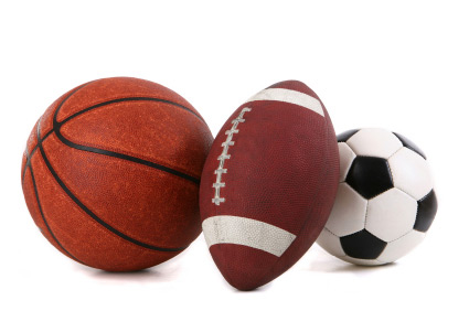 basketball, football and a soccer ball
