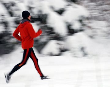 runner with a wintery background